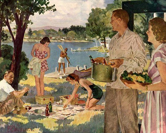 summer picnic at the lake house